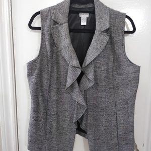 Chico's Gray/Black Ruffle Vest